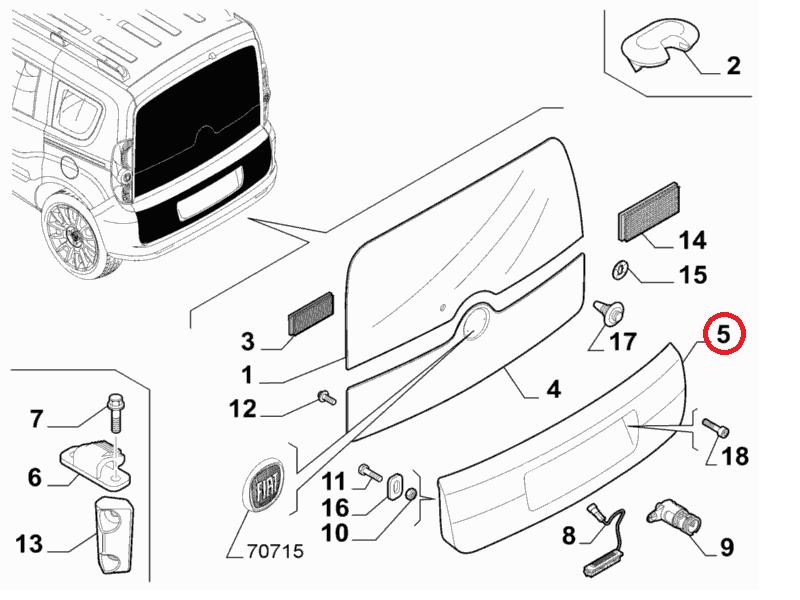 Декоративная накладка крышки багажника (ляды) Doblo 2009-, Арт. 735571768, 735512766, 735571768, 735512767, 735571769, FIAT