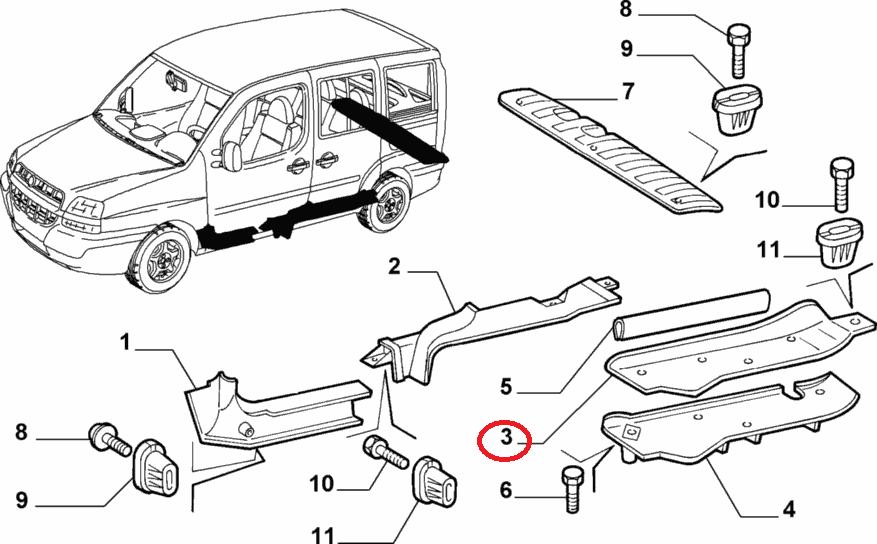 Облицовка порога двери сдвижной левой Cargo Doblo 2000-2016 (с здвижной дверью) (OPAR), Арт. 735286711, 735286711, FIAT