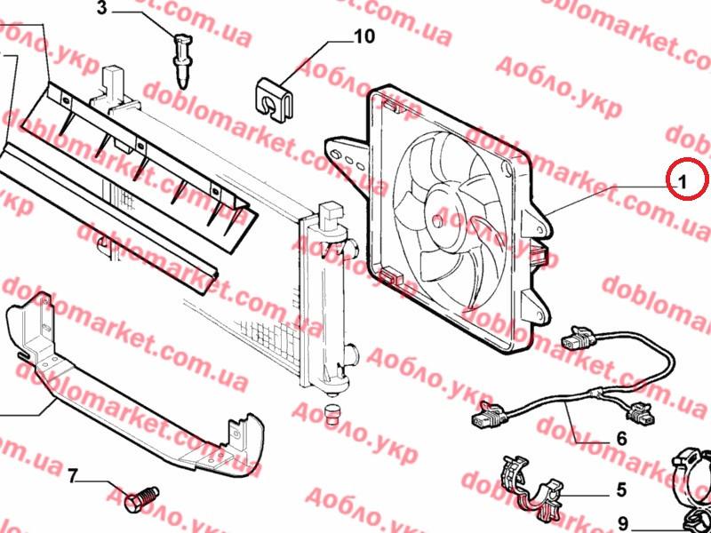Диффузор с одним вентилятором + AC 1.2i Albea Siena 2002-2012, Арт. 46826688, 46826688, TOFAS