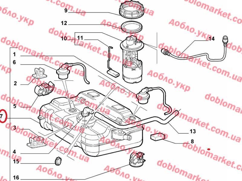 Топливный бак 1.6i 16v Doblo 2000-2009, Арт. 46812907, 46812907, 46812907, FIAT
