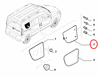 Стекло боковое третий ряд правое (жабра) Doblo 2009-2015, Арт. 51817860, 51817860, FIAT