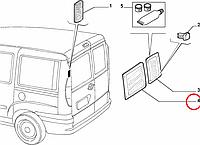 Стекло двери распашной задней левое с электроподогревом Doblo 2000-2016, Арт. 46815794S, 46815794, TYC