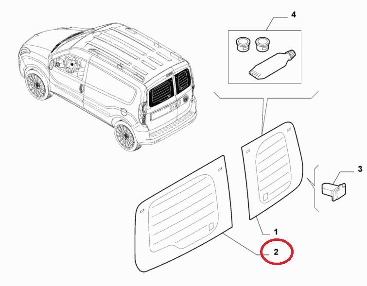 Стекло двери распашной задней левое с электроподогревом (высокая крыша) Doblo 2009-2015, Арт. 51907753, 51907753, 52029024, FIAT