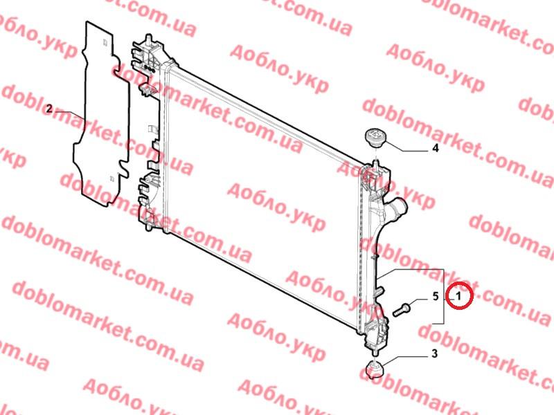 Радиатор охлаждения 1.4i 16v Doblo 2009-, Арт. 50522910, 50522910, 50512102, FIAT