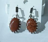 Овальные сережки из натуральных камней со стразами от Бижутерии RRR в Украине. 2197