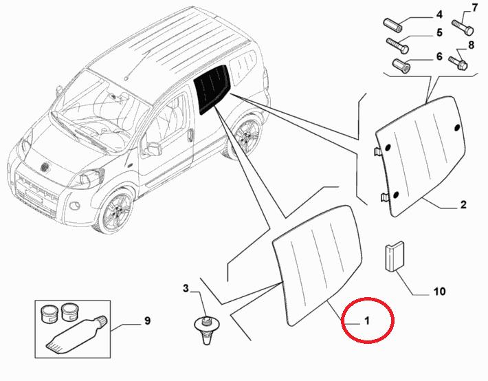 Стекло боковое правое второй ряд Fiorino 2007-, Арт. 1356663080, 1356663080, FIAT