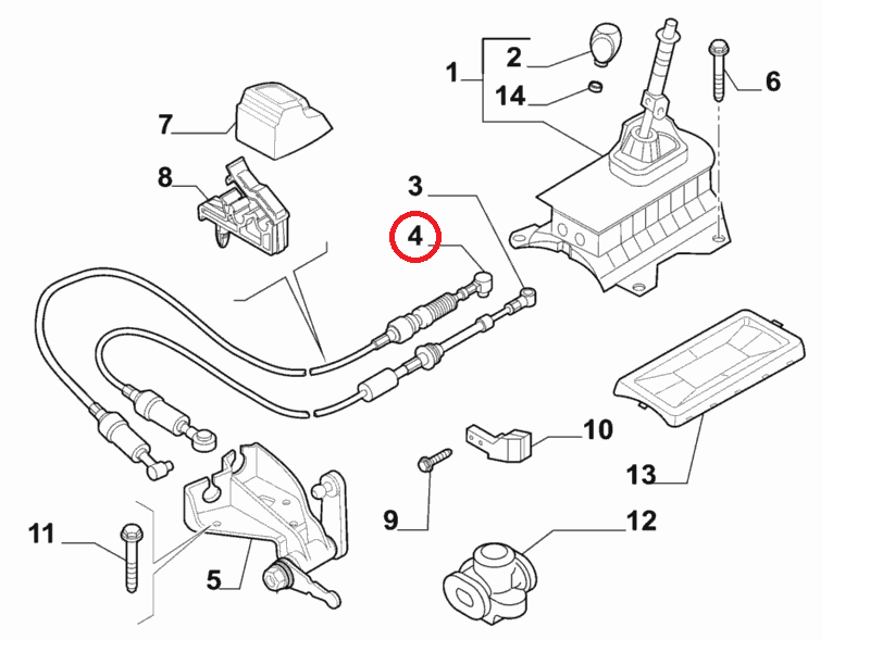 Трос переключения передач 1.3MJTD Linea 2007-, Арт. 55231423, 55231423, FIAT