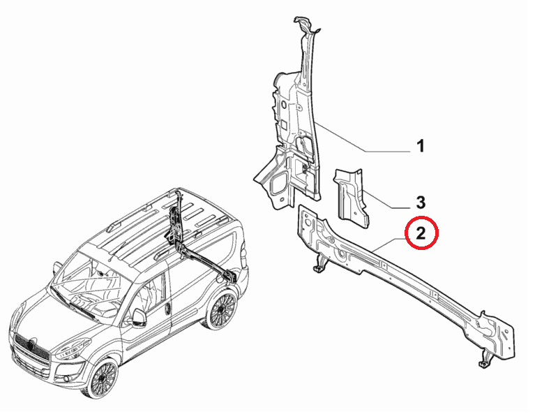 Панель установочная задняя нижняя Doblo 2009-2015, Арт. 51972721, 51817808, 51972721, FIAT