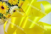 Лента атласная 5см оптом желтая 33 метра