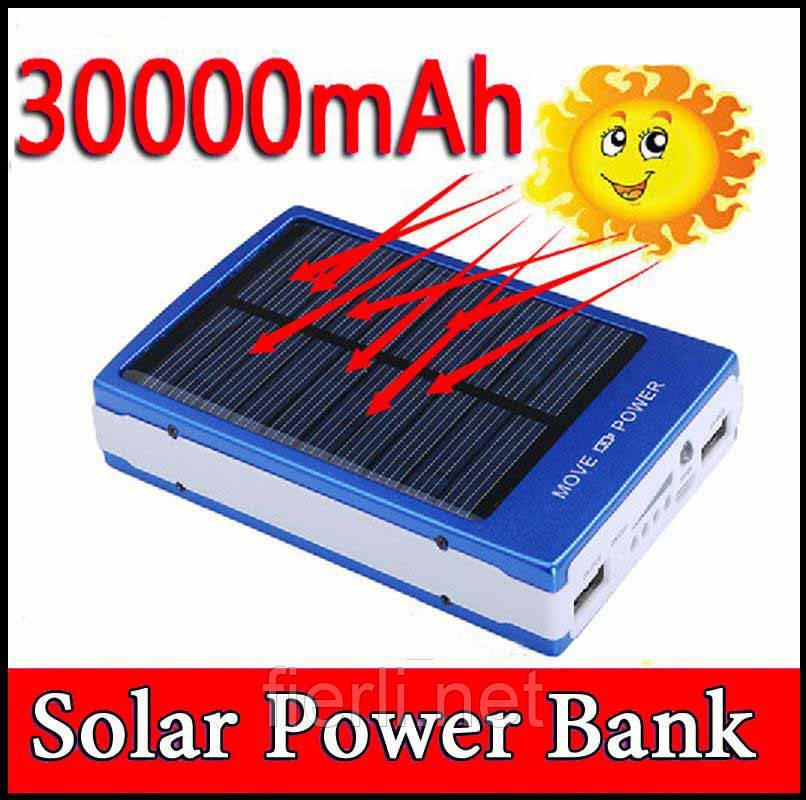 Power Bank 30000 mAh зарядка на солнечной батарее + фонарь 20 светодиодов.
