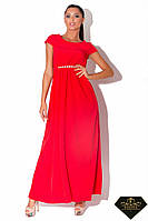 Платье длинное женское от груди Красное (норма и батал)