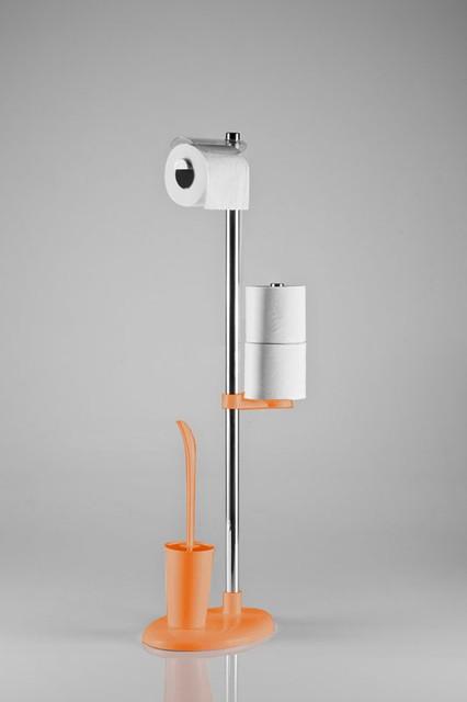 Стойка в санузел с держателем туалетной бумаги и ершом цвет оранжевый