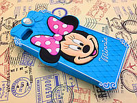 Резиновый 3D чехол для iPhone 5 / 5S Minnie голубой