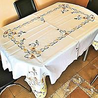 Скатерть c кружевом и вышивкой маки, фото 1