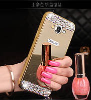 "Samsung A3 A300H GALAXY металлический чехол бампер рамка со стразами ЗЕРКАЛЬНЫЙ для телефона ""FRONT STAR"""