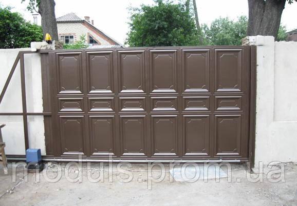 Ворота филенчатые откатные (шоколадка)