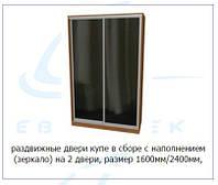 Раздвижные двери купе в сборе с наполнением (зеркало) на 2 двери, размер 1600мм/2400мм