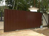 Ворота откатные профнастил (односторонняя зашивка), фото 1