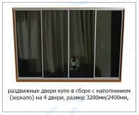 Раздвижные двери купе в сборе с наполнением (зеркало) на 4 двери, размер 3200мм/2400мм
