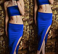 Костюм летний  топ короткий + юбка с разрезом электрик
