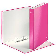 Папка с 2 кольцами, 25мм, А4+, Leitz WOW, розовий металлик