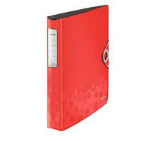 Папка А4 Leitz ACTIVE BEBOP, 4 кольца, красный