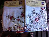 Скатерть атласная с машинной вышивкой цветок Alltex, фото 1