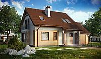 Проект дома c гаражом для одной машины MS143