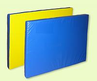 Спортивный гимнастический мат  100х100х8 см (желто-синий)