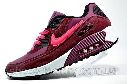 Кроссовки женские Nike Air Max 90, бордовый, фото 2