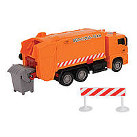 """Игрушечные машинки и техника «Dickie Toys» (3343000) мусоровоз """"MAN"""" с мусорным контейнером и ограждением, 22 см (красный)"""