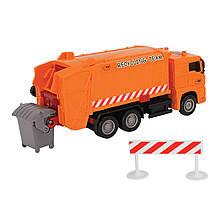 """Мусоровоз """"MAN"""" с мусорным контейнером и ограждением, 22 см (красный) «Dickie Toys» (3343000)"""