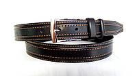 Кожаный ремень 35 мм чёрный прошитый двойной коричневой ниткой пряжка хромированная два кожаных тренчика