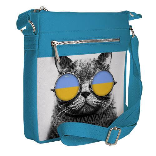 Голубая Сумка Pocket с Принтом Кот в Очках — в Категории