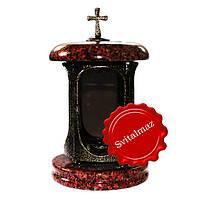 Гранитная лампадка лезники красные и чёрные пятна с крестом и вставкой под бронзу.