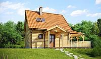 Маленький и удобный дом с верандой из натурального дерева, простой и недорогой в реализации MS144.