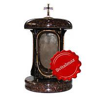 Лампада гранитная токовская красно-коричневые и черные пятна с крестом и вставкой под золото.