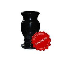 Гранитная ваза Н20 см. из камня габбро буки (черная) для цветов.
