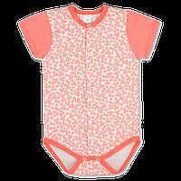 Детский боди-футболка Ромашка р. 62 ткань КУЛИР-ПИНЬЕ 100% тонкий хлопок ТМ ПаМаМа 3153 Коралловый (Алый)