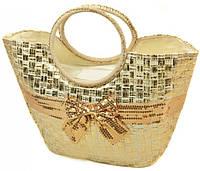 Женская сумка-корзина соломенная Podium PC7167-1 natural gold