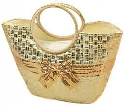 Женская сумка соломенная Podium PC7167-1 natural gold