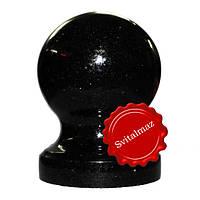Гранитный шар на ножке Ф12 см. из камня габбро буки (черный) для оград и заборов.