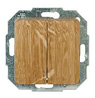 Двуклавишный выключатель,натуральный  дуб