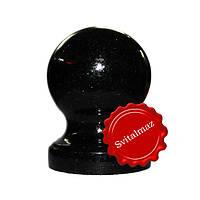 Гранитный шар на ножке Ф10 см. из камня габбро буки (черный) для оград и заборов.
