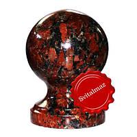 Гранитный шар на ножке Ф12 см. из камня капуста (красный с большими черными пятнами) для оград и заборов.