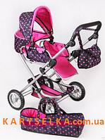 Детская кукольная коляска 9333 (малиновый горох)Melogo