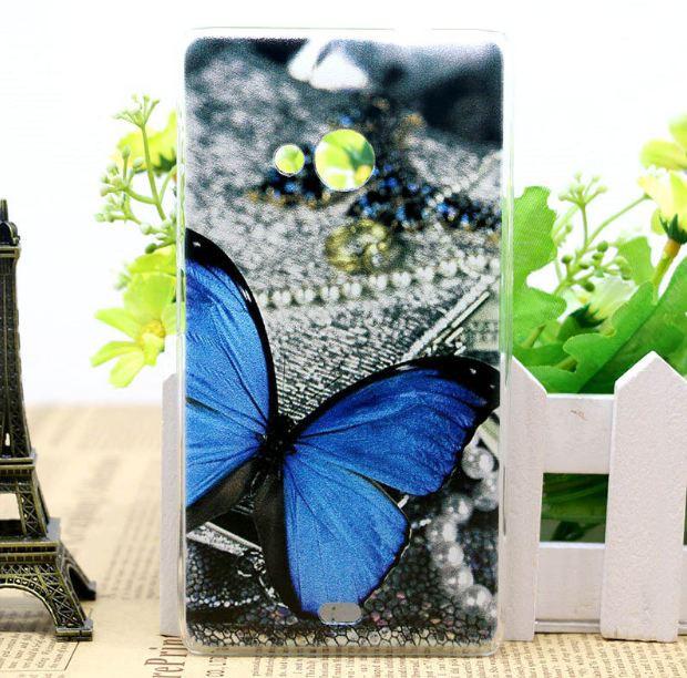 Чехол силиконовый бампер для Nokia Lumia 535 с рисунком Бабочка
