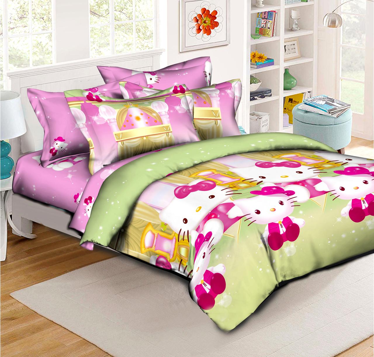 Полуторный детский комплект постельного белья Hello Kitty (70х70)