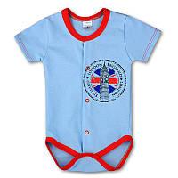 Детский боди-футболка London р. 74 ткань КУЛИР-ПИНЬЕ 100% тонкий хлопок ТМ ПаМаМа 3154 Голубой