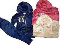 Костюм велюровый-двойка для девочки, размеры 104 р бежевый, GLO-STORY, арт. GLT-9561
